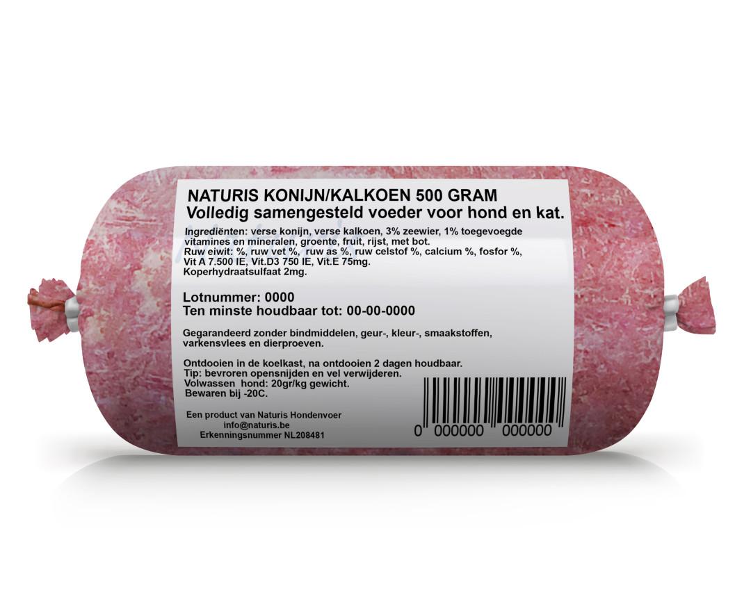 Naturis Vers Vlees voeding Konijn 500 gr