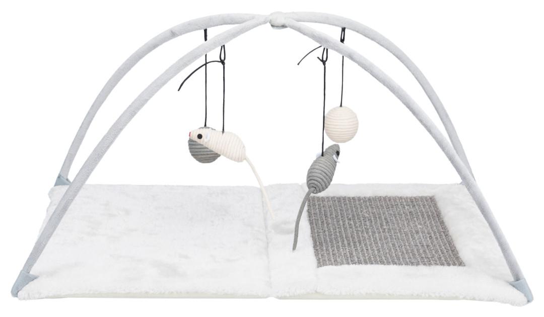 TRIXIE Junior krabmat met speeltjes aan koord grijs/lichtgrijs