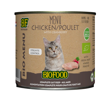 Biofood kattenvoer Bio Kip Menu 200 gr