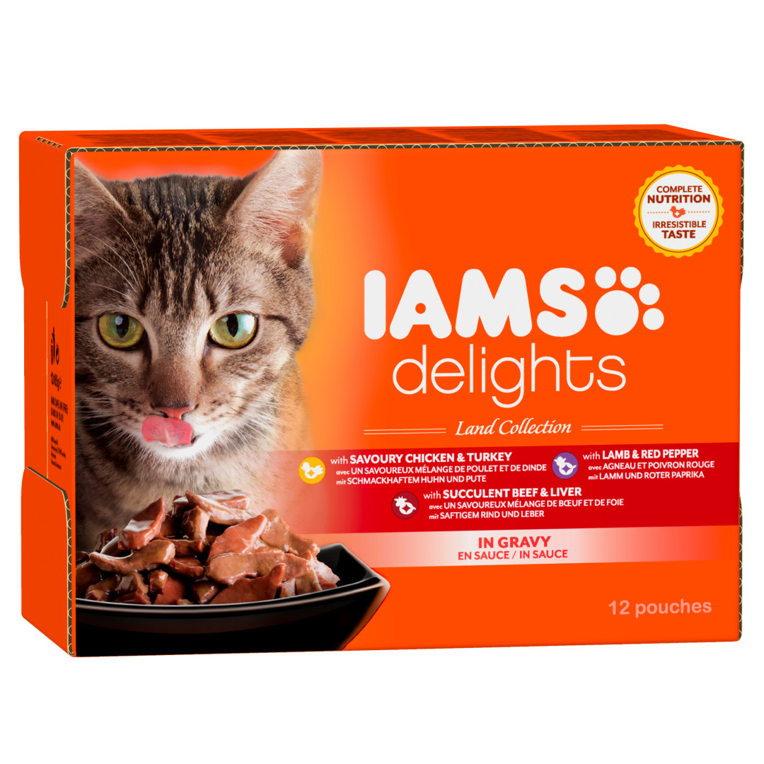 IAMS Delights Land Collection in Gravy <br>12 x 85 gr