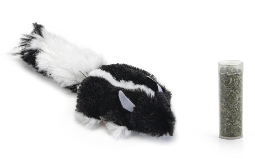 Beeztees kattenspeelgoed Snuffy + catnip zwart/wit