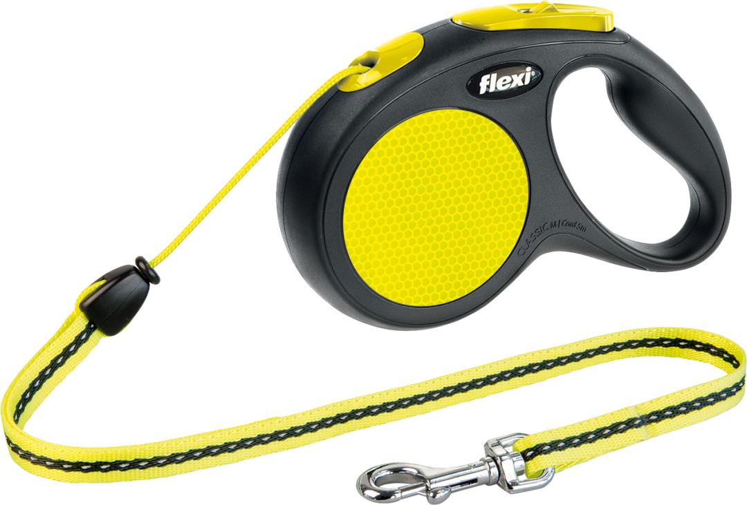 Flexi New Classic Neon M met koord geel 5 mtr