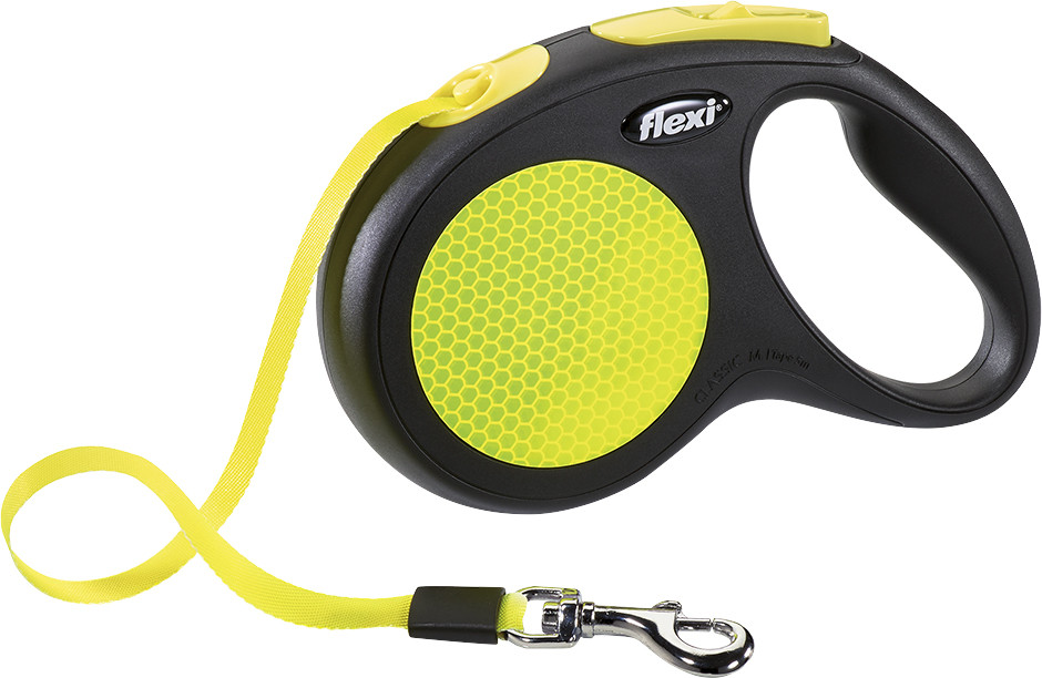 Flexi New Classic Neon M met band geel 5 mtr