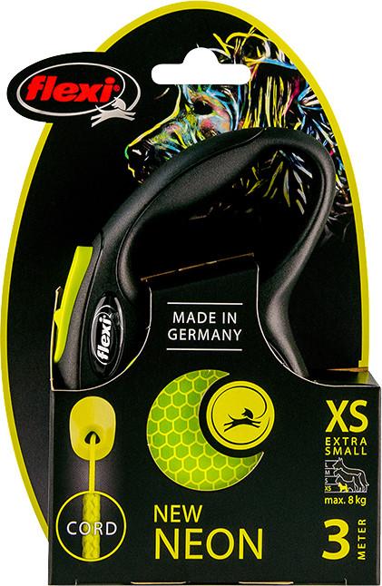 Flexi New Neon XS met koord geel 3 mtr