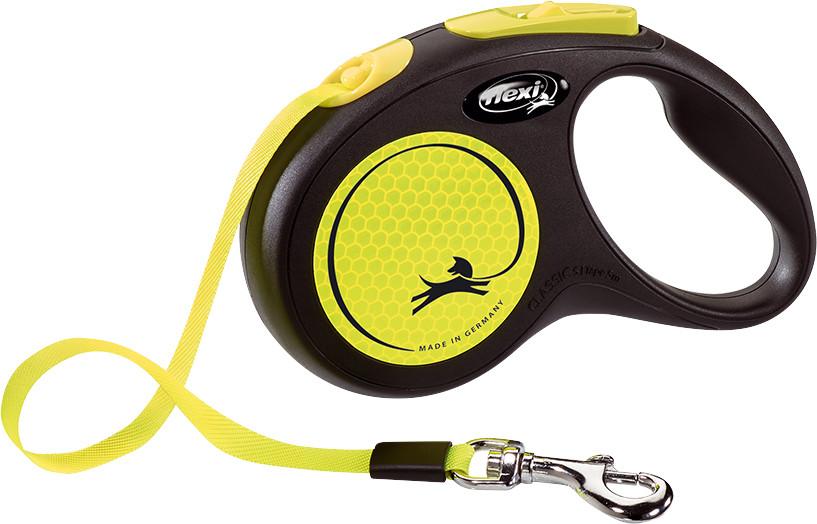 Flexi New Neon met band S geel 5 mtr