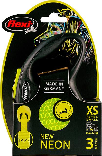 Flexi New Neon XS met band geel 3 mtr