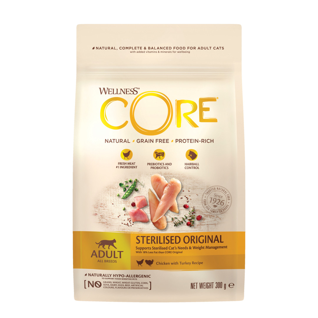 Wellness CORE kattenvoer Sterilised kip 300 gr