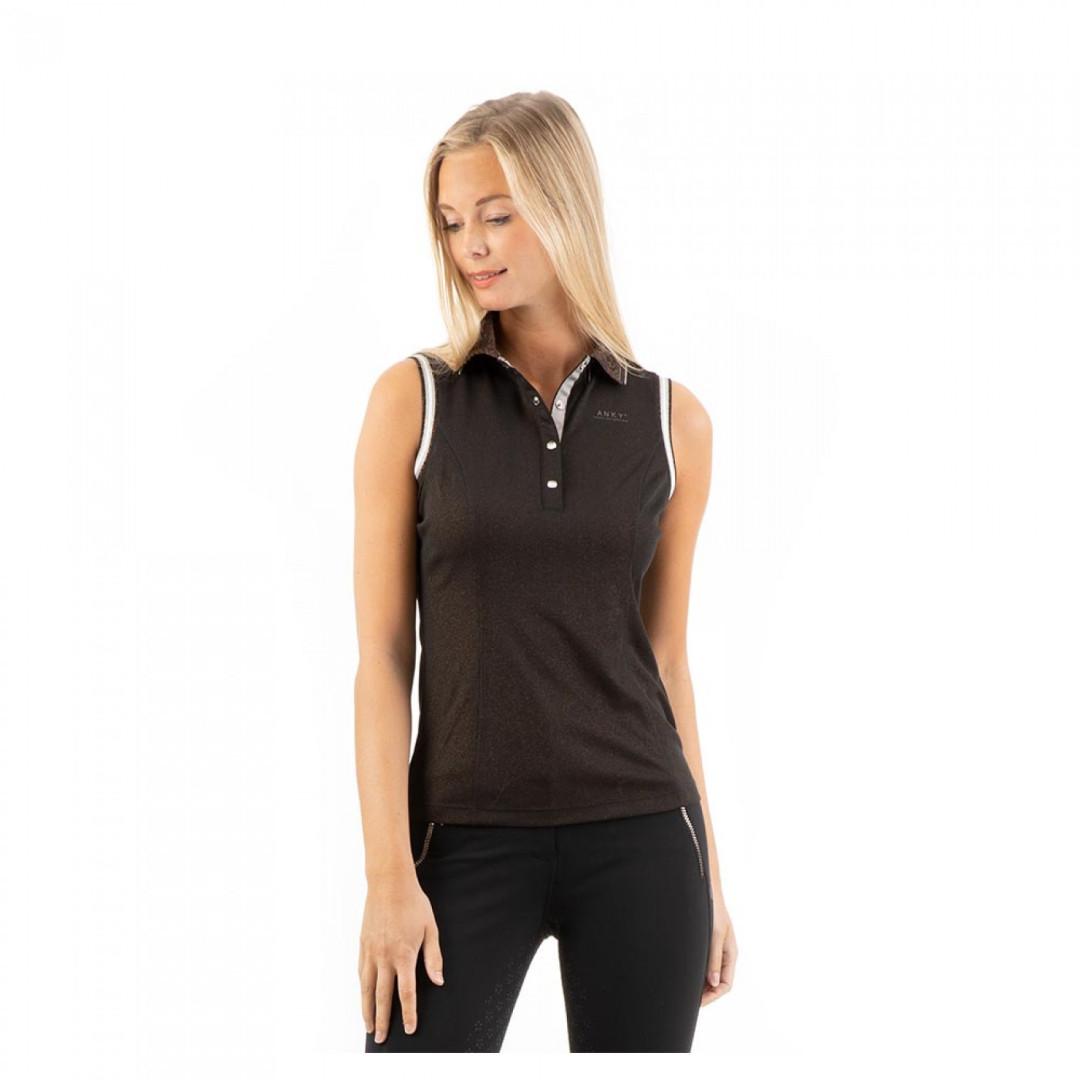 ANKY Sleeveless Polo Shirt Black