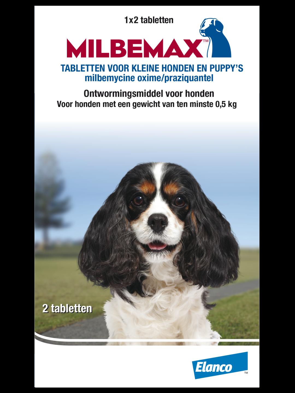 Milbemax tabletten kleine hond/puppy <br>0,5 - 10 kg 2 st