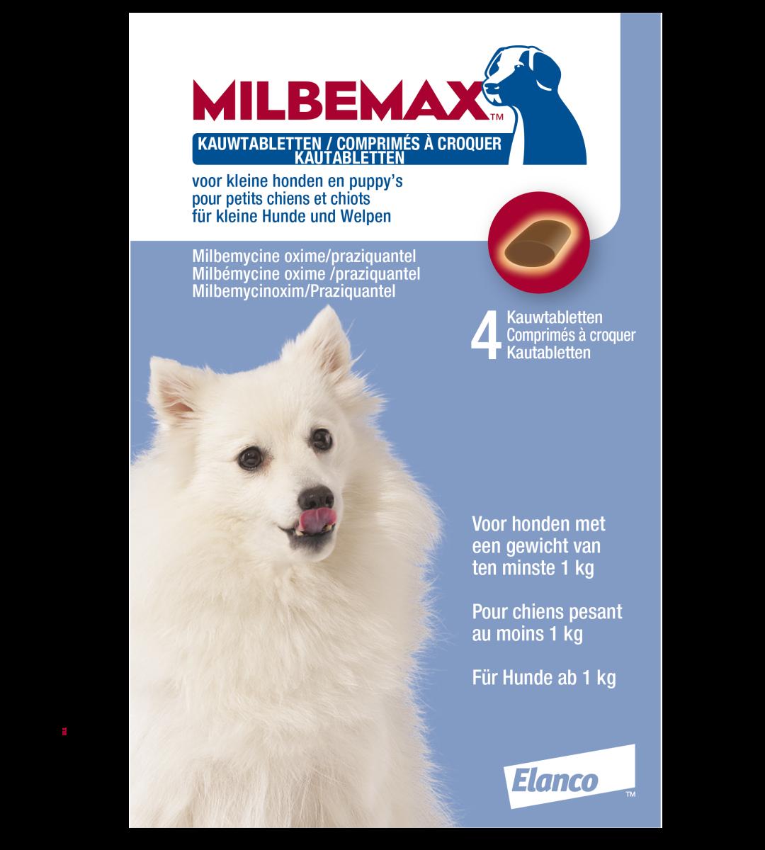 Milbemax kauwtablet kleine hond/puppy<br>0,5 - 10 kg 4 st