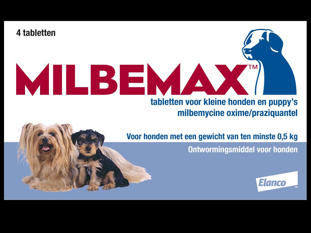 Milbemax tabletten kleine hond/puppy <br>0,5 - 10 kg 4 st