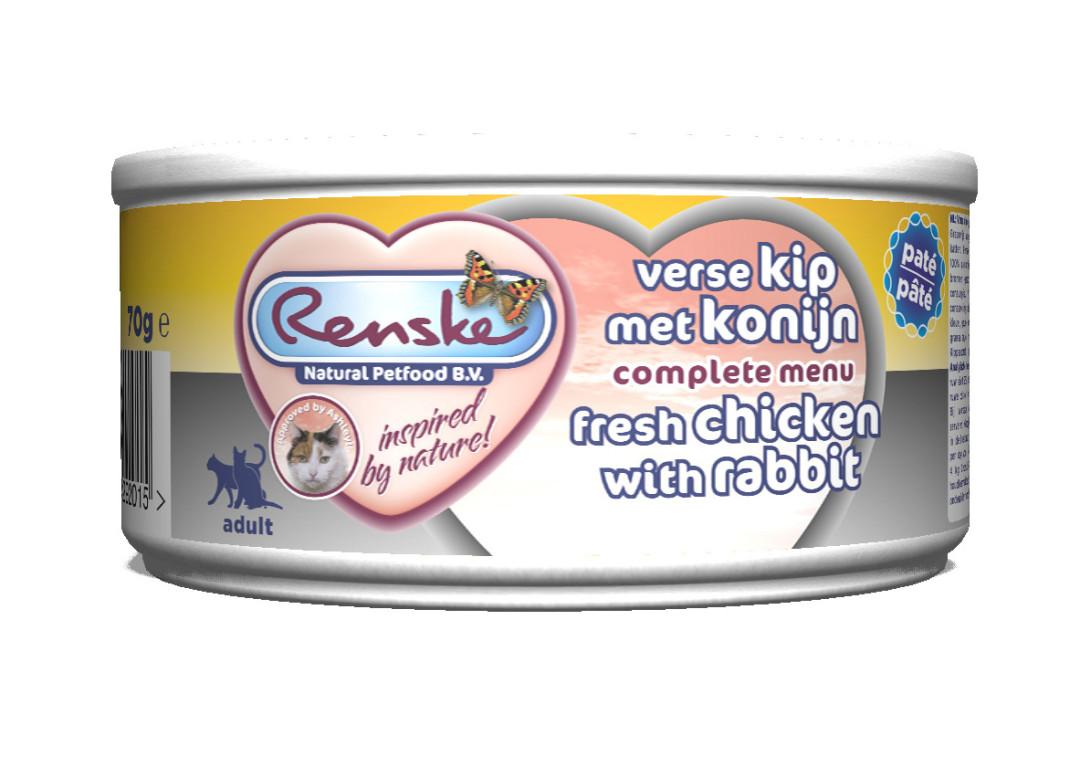 Renske kattenvoer Vers Vlees maaltijd Kip met Konijn 70 gr