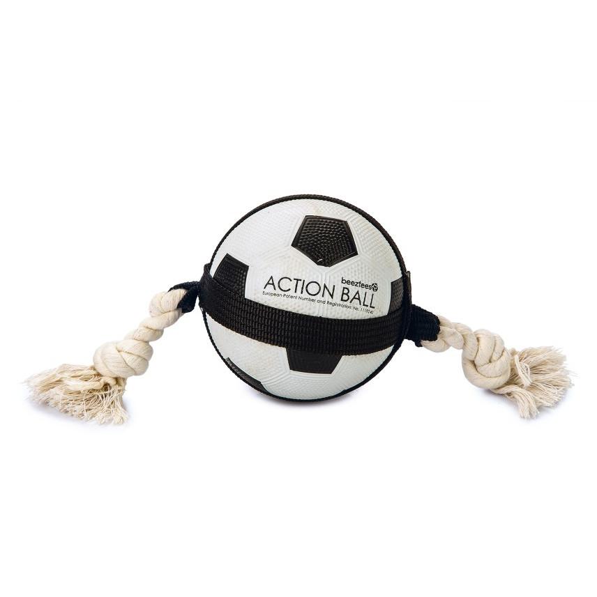 Beeztees Action voetbal met touw <br>12,5 cm