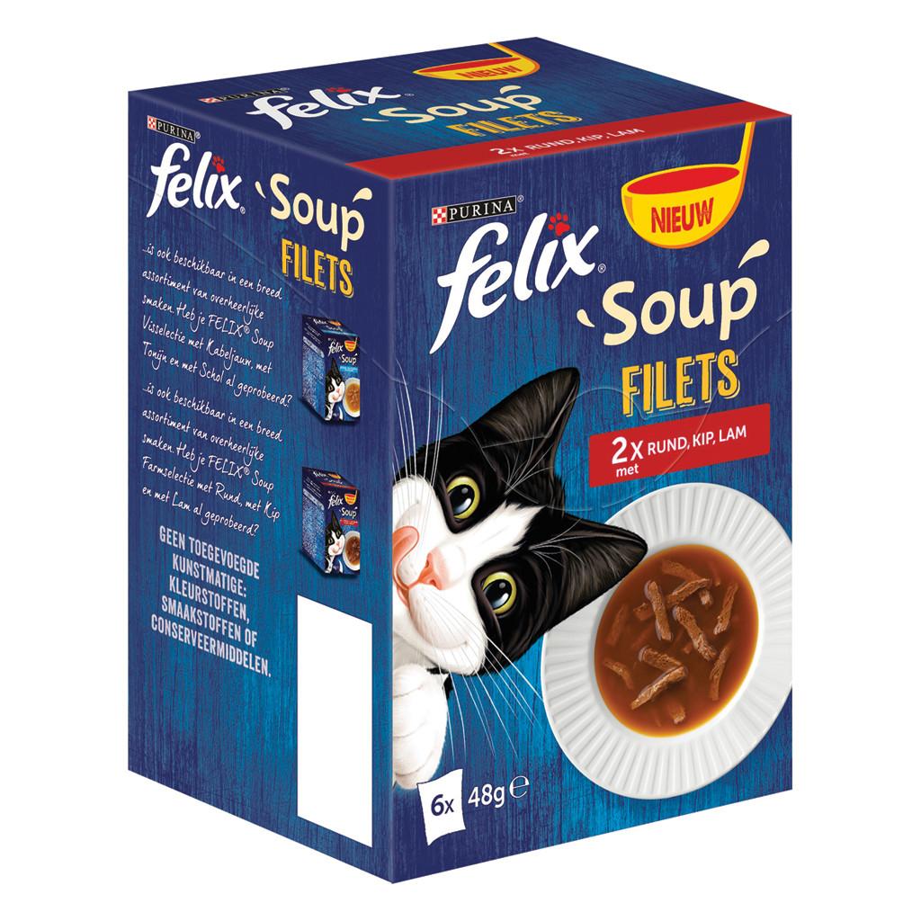 Felix kattenvoer Soup Strips Farm Selectie <br>6 x 48 gr